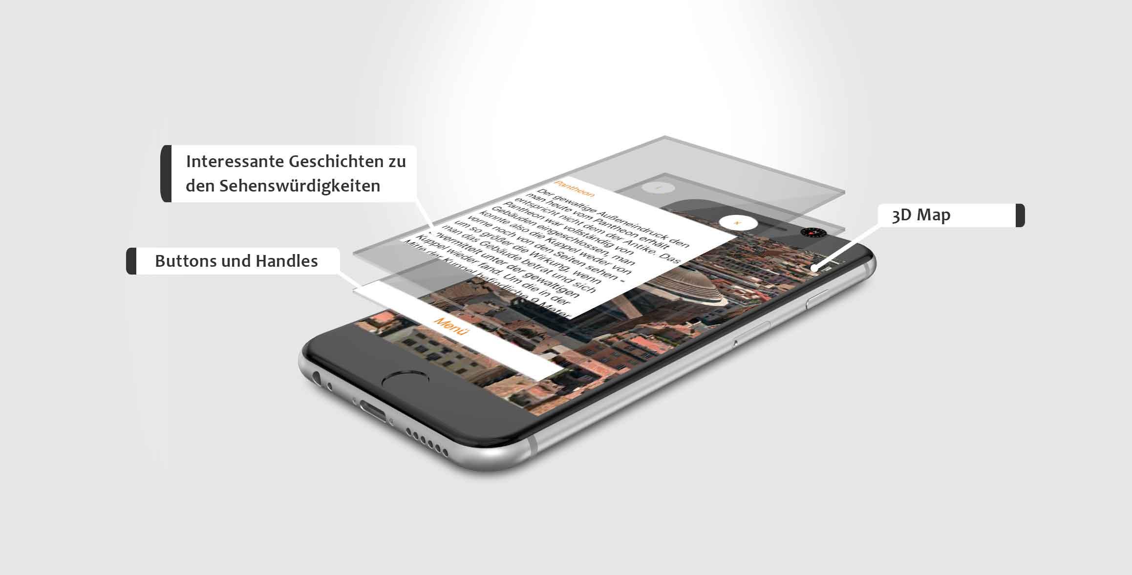 Darstellung der einzelnen Elemente App take5 von Laura Berger