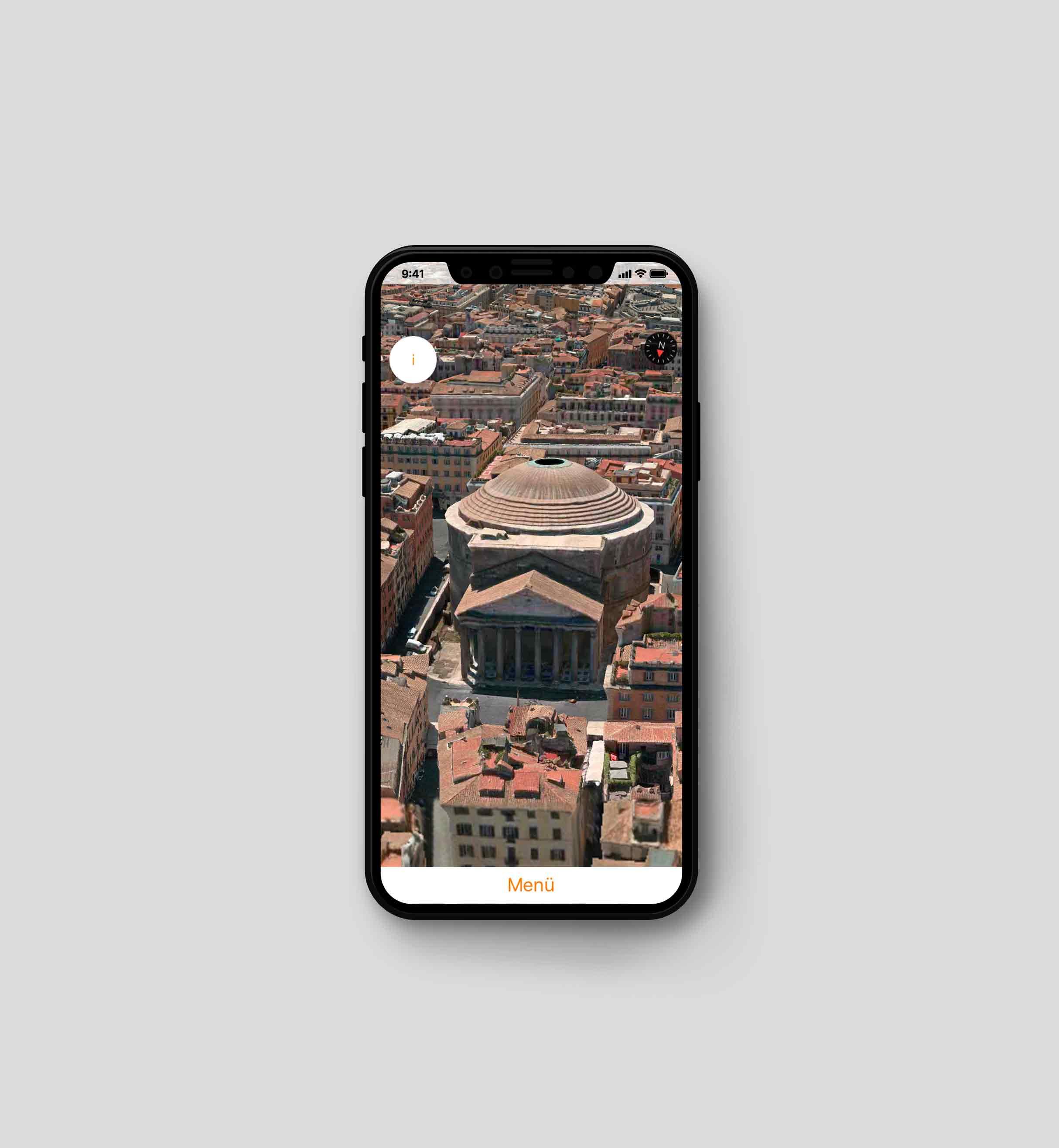 Standbild vom Pantheon in Rom aus der virtuellen Reise App take5 von Laura Berger